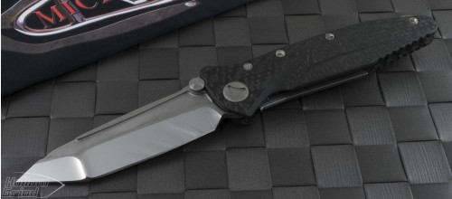 Microtech Knives Custom Carbon Fiber Socom Delta T/E Folder Knife (4in Mirror Polished Plain) sd-c-hp - Front