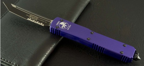 (#123-2P) Microtech Ultratech Tanto Purple/Black Serrated - Front