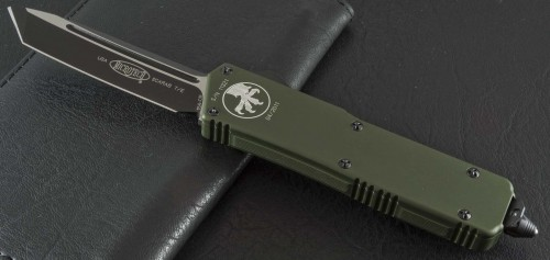 (#108-1GR) Microtech Scarab Executive Tanto OD Green/Black Plain - Front