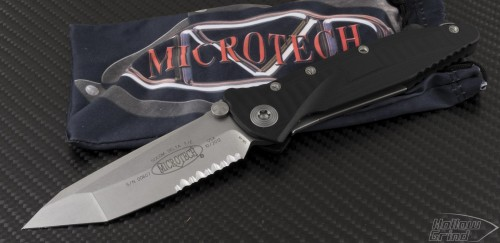 Microtech Knives Socom Elite T/E Folder Knife (4in Stonewashed Part Serr S35-VN) 163-11 - Front