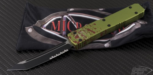(#123-2Z) Microtech Ultratech T/E Zombie Partially Serrated - Front