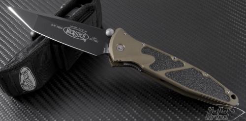 Microtech Knives Tan Socom Elite T/E Folder Knife (4in Black Plain S35-VN) 162-1TAC - Front