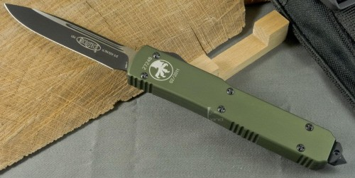 Microtech Ultratech S/E - Green Handle - Black Plain Blade - Front