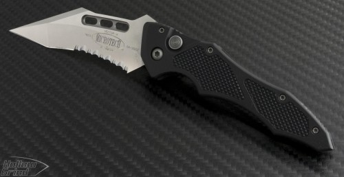 Microtech Knives Vector S/E Automatic Folder S/A Knife (3.1in Satin Part Serr 154-CM) VNT-0054 - Front
