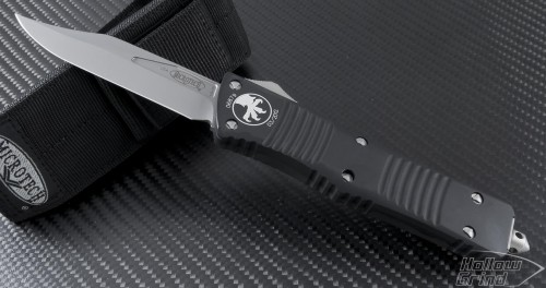 Microtech Knives Combat Troodon Clip Point Automatic OTF D/A Knife (3.75in Bead Blasted Plain S35-VN) 143-7 - Front