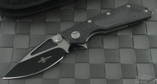 Microtech Knives Custom Carbon Fiber DOC S/E Flipper Knife (3.25in Black Plain S35-VN) DOC-C-FL-BLK - Front