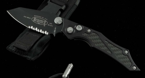 (#128-2) Microtech Select Fire D/A Black Serrated - Front