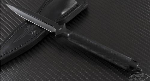 Microtech Knives Custom ADO D/E Fixed Knife (4in Black Plain) ado-c-de-black - Front
