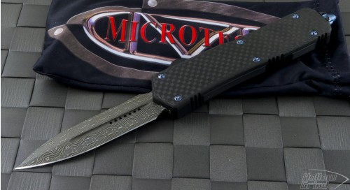 Microtech Knives Custom Carbon Fiber Scarab D/E Automatic OTF D/A Knife (3.44in Damascus Plain ) SCRB-CF-DAM - Front
