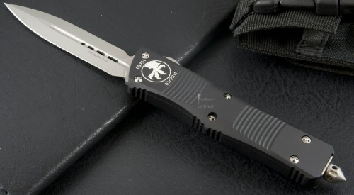 Microtech Knives Troodon D/E Automatic OTF D/A Knife (3.1in Bead Blasted Plain S35-VN) 138-7-2012 - Front