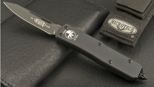 (#125-1T) Microtech UT-X85 Black Tactical Plain - Front