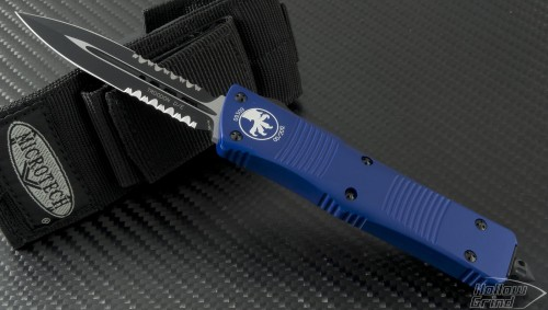 (#138-2BL) Microtech Blue Troodon D/E Black Partial Serrated - Front