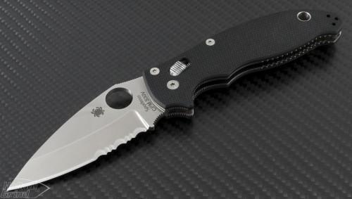 Spyderco Manix S/E Folder Knife (3in Satin Part Serr S30-V) SPY-C101GPS2 - Front
