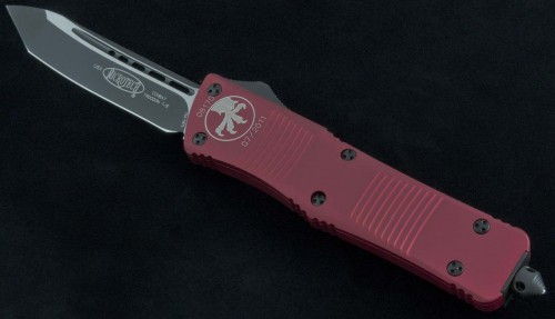 Microtech Knives Red Combat Troodon T/E Automatic OTF D/A Knife (3.75in Black Plain S35-VN) 144-1RD - Front