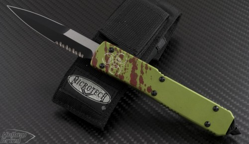 (#120-2Z) Microtech Zombie Ultratech Bayonet Partially Serrated - Front