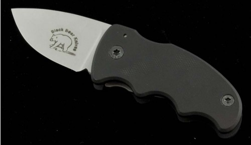 Black Bear Cub S/E Folder Knife (2in Bead Blasted Plain S-30V (CMP)) BB-CUB - Front