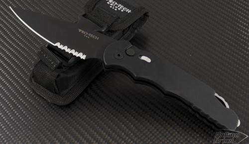 (#PT-TR-4.4) Protech TR-4.4 Black Handle DLC Serrated Blade - Front