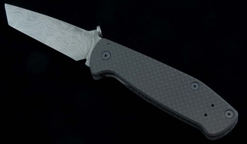 Black Bear Knives - Guardian Damascus and Carbon Fiber - Front