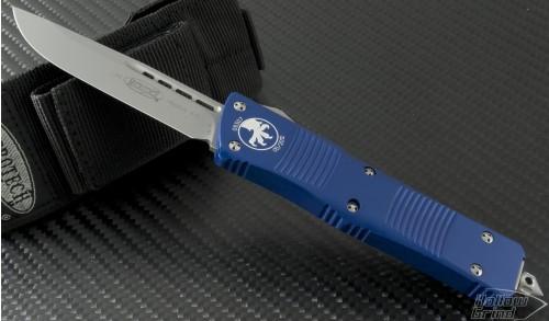 (#139-7BL) Microtech Blue Troodon S/E Beadblast Plain - Front