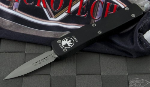 Microtech Knives UTX-70 D/E Automatic OTF D/A Knife (1.75in Bead Blasted Plain ATS-34) CA147-7 - Front