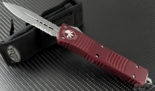 Microtech Knives Red Combat Troodon D/E Automatic OTF D/A Knife (3.75in Bead Blasted Part Serr S35-VN) 142-8RD - Front