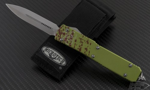 Microtech Knives Other Ultratech D/E Automatic OTF D/A Knife (3.44in Bead Blasted Plain ELMAX) 122-7Z - Front