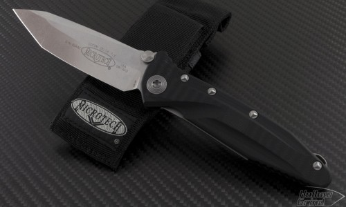 Microtech Knives Socom Elite T/E Folder Knife (4in Stonewashed Plain S35-VN) 163-10 - Front