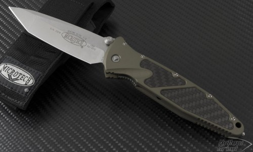 Microtech Knives Tan Socom Elite T/E Folder Knife (4in Satin Plain S35-VN) 161-4TA - Front