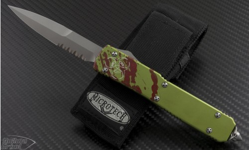 (#120-8Z) Microtech Zombie Ultratech Bayonet Bead Blast Partially Serrated - Front