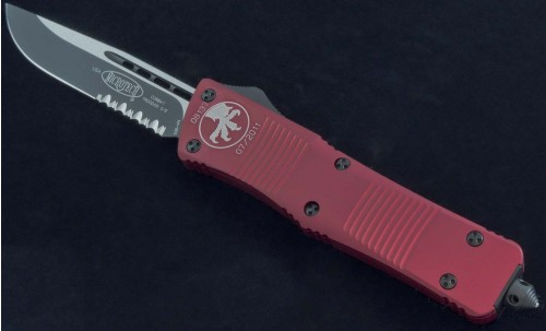 Microtech Knives Red Combat Troodon S/E Automatic OTF D/A Knife (3.75in Black Part Serr) 143-2RD - Front