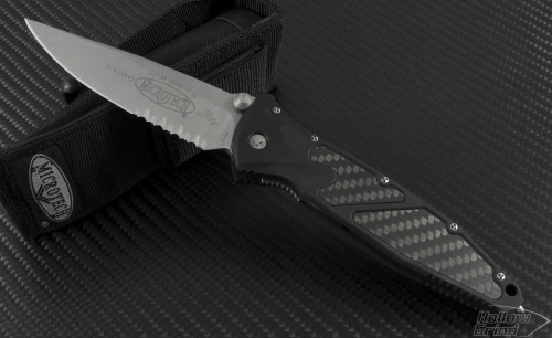 Microtech Knives Socom Elite S/E Folder Knife (4in Stonewashed Part Serr S35-VN) 160-11CF - Front