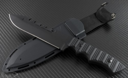 Brous Blades Coroner D/E Fixed Knife (6in Black Part Serr D2) JB-Coroner-Black - Front