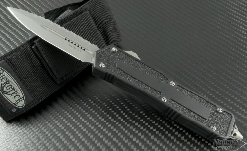 Microtech Knives Scarab D/E Automatic OTF D/A Knife (3.44in Bead Blasted Serr S35-VN) 175-9 - Front