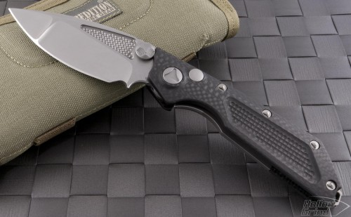 Microtech Knives Custom Carbon Fiber DOC S/E Automatic Folder D/A Knife (3.25in Stonewashed Plain S35-VN) doc-da-proto - Front
