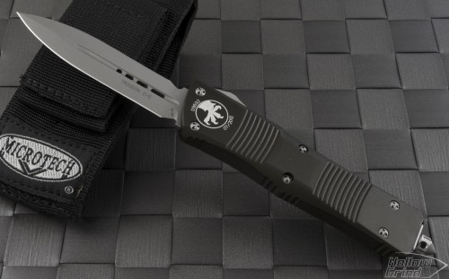Microtech Knives Green Troodon D/E Automatic OTF D/A Knife (3.1in Bead Blasted Plain S35-VN) 138-7GR - Front