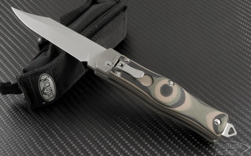 Microtech Knives Other OSS Cobra Clip Point Automatic Folder S/A Knife (3.3in Bead Blasted Plain S35-VN) 137-7CM - Front