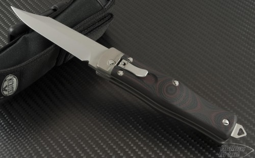 Microtech Knives Other OSS Cobra Clip Point Automatic Folder S/A Knife (3.3in Bead Blasted Plain S35-VN) 137-7RD - Front
