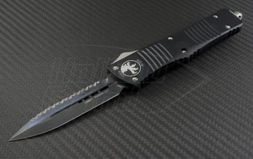 Microtech Knives Combat Troodon D/E Automatic OTF D/A Knife (3.75in DLC Serr ELMAX) 142-3 - Front