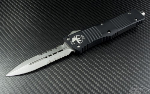 Microtech Knives Combat Troodon D/E Automatic OTF D/A Knife (3.75in Stonewashed Part Serr ATS-34) 142-11 - Front
