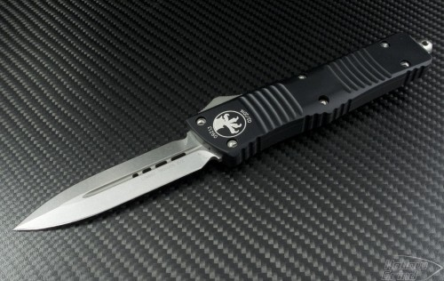 Microtech Knives Combat Troodon D/E Automatic OTF D/A Knife (3.75in Stonewashed Plain ATS-34) 142-10 - Front