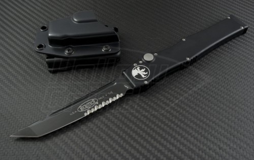 Microtech Knives Halo V T/E Automatic OTF S/A Knife (4.6in Black Part Serr ELMAX) 150-2-2014 - Front