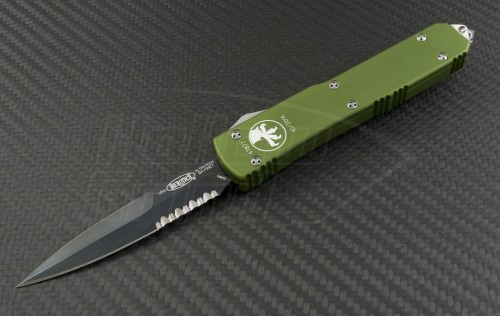 Microtech Knives OD Green Ultratech D/E Automatic OTF D/A Knife (3.44in Black Part Serr ELMAX) 120-2OD - Front