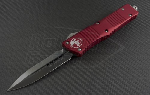 Microtech Knives Red Combat Troodon D/E Automatic OTF D/A Knife (3.75in DLC Plain ELMAX) 142-1RD - Front