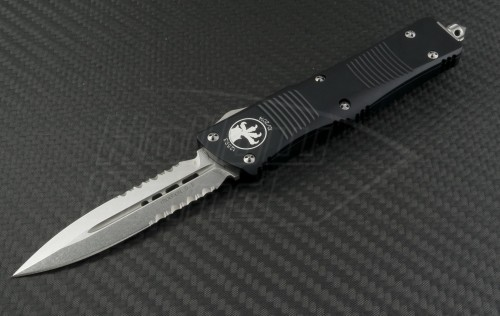 Microtech Knives Troodon D/E Automatic OTF D/A Knife (3.1in Stonewashed Part Serr CTS-XHP) 138-11 - Front