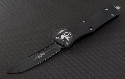 Microtech Knives Troodon T/E Automatic OTF D/A Knife (3.1in DLC Part Serr ELMAX) 140-1 - Front