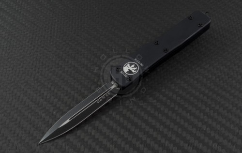 Microtech Knives UTX-70 D/E Automatic OTF D/A Knife (2.41in Black Plain ELMAX) 147-1T - Front