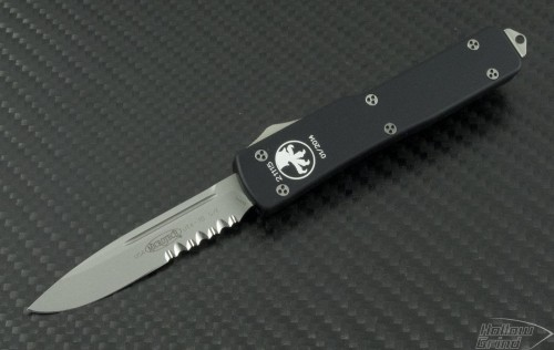 Microtech Knives UTX-70 S/E Automatic OTF D/A Knife (2.41in Satin Part Serr ELMAX) 148-8 - Front
