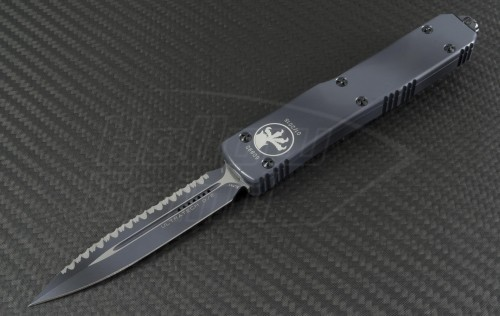 Microtech Knives Urban Camo Ultratech D/E Automatic OTF D/A Knife (3.44in Color Coated Serr ELMAX) 122-3UC - Front