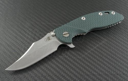 Rick Hinderer Green Clip Point Flipper Knife (3.5in Stonewashed Plain S35-VN) RH-XM1835-BW-GR - Front