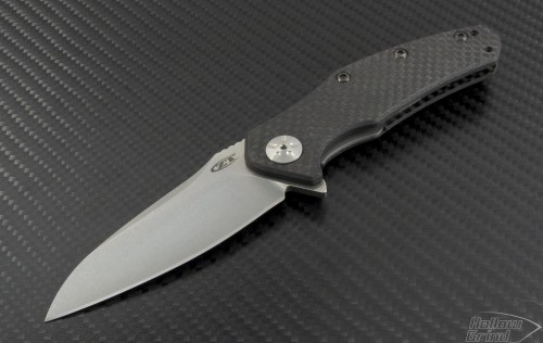 Zero Tolerance 0770CF S/E Assisted Folder Knife (3.25in Stonewashed Plain ELMAX) ZT-0770CF - Front